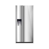 Congelador de refrigerador americano do estilo isolado no branco A exposição de diodo emissor de luz externo, com fulgor azul Ref ilustração stock