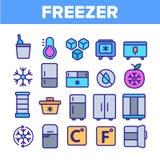 Congelador, grupo linear refrigerando dos ?cones do vetor do dispositivo ilustração stock
