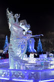 Congele a cidade com esculturas na cidade de Yekaterinburg, 2016 Imagem de Stock Royalty Free