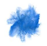 Congele el movimiento del polvo azul que estalla, aislado Fotografía de archivo