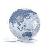 Congele a ilustração Ásia do globo 3D e o mapa de Austrália Fotografia de Stock
