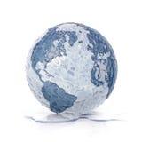 Congele o norte da ilustração do globo 3D e o mapa de Ámérica do Sul Fotos de Stock