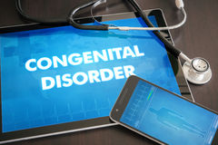 Congenital disorder (deformity, disease) diagnosis medical concept on tablet screen with stethoscope.  royalty free stock image