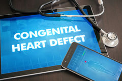 Congenital heart defect (congenital disorder) diagnosis medical. Concept on tablet screen with stethoscope stock photos