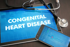 Congenital heart disease (congenital disorder) diagnosis medical. Concept on tablet screen with stethoscope stock photography