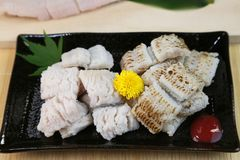 Conger pike is treated as a luxury foodstuff in Japan. This is called yubiki hamo parboiled conger pike or botan hamo peony-shaped conger pike Stock Photo