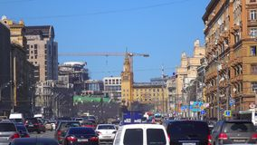 Congested and free parts of wide city highway 4K video. Moscow, Russia stock video footage