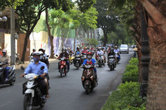 A congested road with motorist on Ho Chi Minh street in Vietnam Stock Photo