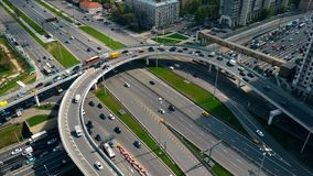 Congested street traffic at the rush hour in Moscow, Russia Royalty Free Stock Image