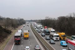 Congested traffic on three lane motorway, England Stock Image