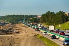 Congestión de las obras por carretera Imagen de archivo libre de regalías