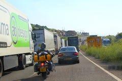 Congestión de tráfico de autopista A20 Dover Reino Unido Foto de archivo