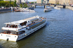 Congestion of boats on the river. Moscow. Pleasure boats have created congestion in one place on the river Royalty Free Stock Photography