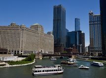 Congestion on the Chicago River Stock Photos