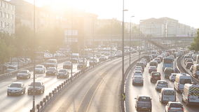 Congestion on a higway. In Istanbul stock video