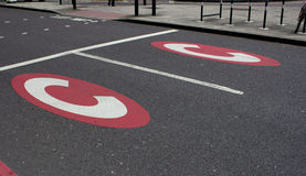 Congestion warning road markings Royalty Free Stock Images
