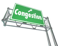 Congestion Word Freeway Highway Road Sign Crowded Traffic Gridlo Stock Photos