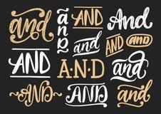 Congiunzioni ed insieme scritti a mano di vettore Raccolta calligrafica degli slogan su fondo nero royalty illustrazione gratis