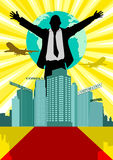 Conglomerate. Illustration of a man in business suit standing behind buildings with open arms Royalty Free Stock Photo