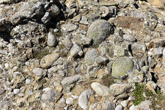 Conglomerate rock with gravel, clasts and pebbles Royalty Free Stock Photo