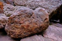 Conglomerate stone rock formation at Cachoeira Da Primavera, Spring Waterfall, Chapada Diamantina, Lencois, Brazil royalty free stock photography