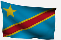 Congo 3d flag. Isolated on white background Royalty Free Stock Photos