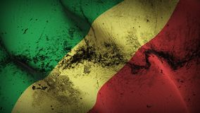 Congo grunge dirty flag waving on wind. Congo background fullscreen grease flag blowing on wind. Realistic filth fabric texture on windy day Royalty Free Stock Photos