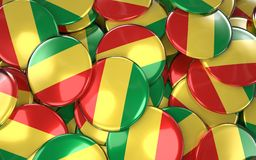 Congo Badges Background - Pile of Congolese Flag Buttons. Royalty Free Stock Photos