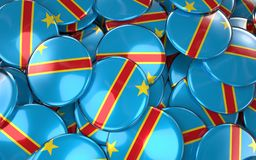 Congo Badges Background - Pile of Congolese Flag Buttons. Royalty Free Stock Photo