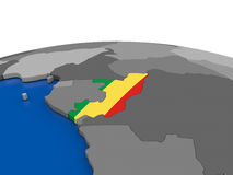 Congo on 3D globe Stock Photo