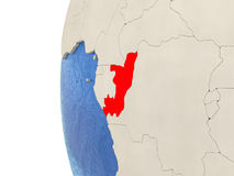 Congo on 3D globe. Map of Congo on globe with watery blue oceans and landmass with visible country borders. 3D illustration Stock Photography