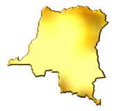 Congo the Democratic Republic. Of the, 3d golden map isolated in white Stock Images