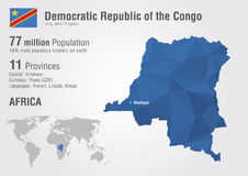 Congo, Democratic Republic of the Congo world map. With a pixel diamond texture Royalty Free Stock Image