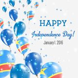 Congo, The Democratic Republic Of The. Congo, The Democratic Republic Of The Independence Day Greeting Card. Flying Balloons in Congo, The Democratic Republic Stock Images