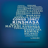 Congo (DRC) map made with name of cities Stock Images