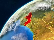Congo on Earth with borders. Congo on realistic model of planet Earth with country borders and very detailed planet surface and clouds. 3D illustration. Elements royalty free stock images