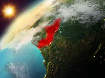 Congo en la tierra del planeta en puesta del sol Imagen de archivo