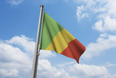 Congo Flag with Clouds Royalty Free Stock Photo