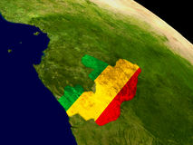 Congo with flag on Earth Stock Photo