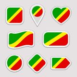 Congo flag vector set. TheRepublic of the Congo national flags stickers collection. Vector isolated geometric icons. Web, sports p vector illustration