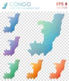 Congo geometric polygonal maps, mosaic style. Congo geometric polygonal maps, mosaic style country collection. Ecstatic low poly style, modern design. Congo Royalty Free Stock Image