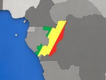 Congo on globe Royalty Free Stock Images