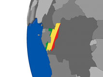 Congo on globe Stock Photography