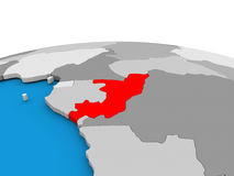 Congo on globe in red Royalty Free Stock Photos