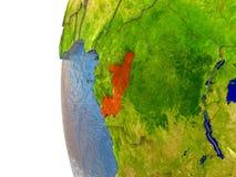 Congo on globe Stock Image