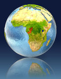 Congo on globe with reflection. Illustration with detailed planet surface. Elements of this image furnished by NASA Royalty Free Stock Photography