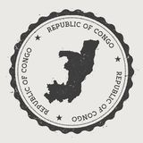Congo hipster round rubber stamp with country map. Vintage passport stamp with circular text and stars, vector illustration Stock Images
