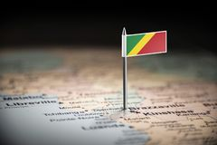 Congo marked with a flag on the map.  royalty free stock images