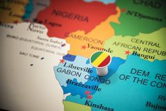 Congo marked with a flag on the map.  royalty free stock image