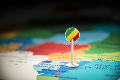 Congo marked with a flag on the map.  stock image